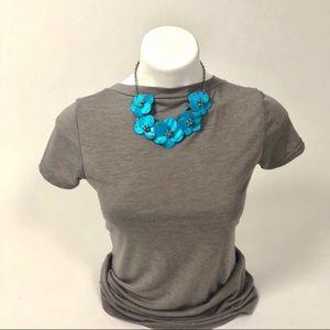 🔥Statement Necklace Blue 5 flower petal aqua